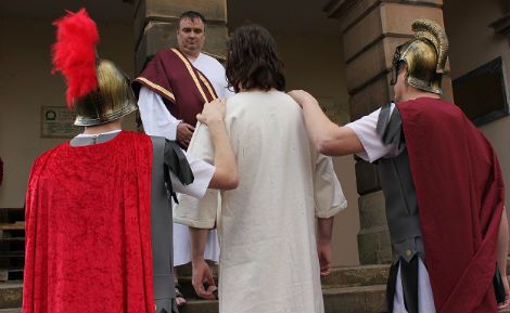 Jesus with Romans and King Herod