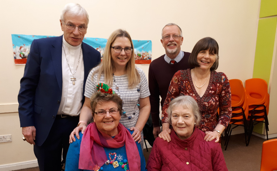 Rt Rev Colin Sinclair with Ruth Sinclair, development worker Louisa Turner, Rev Robin McAlpine and two volunteers who run the after school club