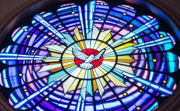 Stained glass window featuring a dove