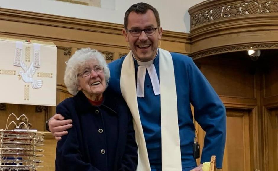 Mrs Marion Dawson with Rev Gary Noonan celebrating her 107th birthday last year in church.