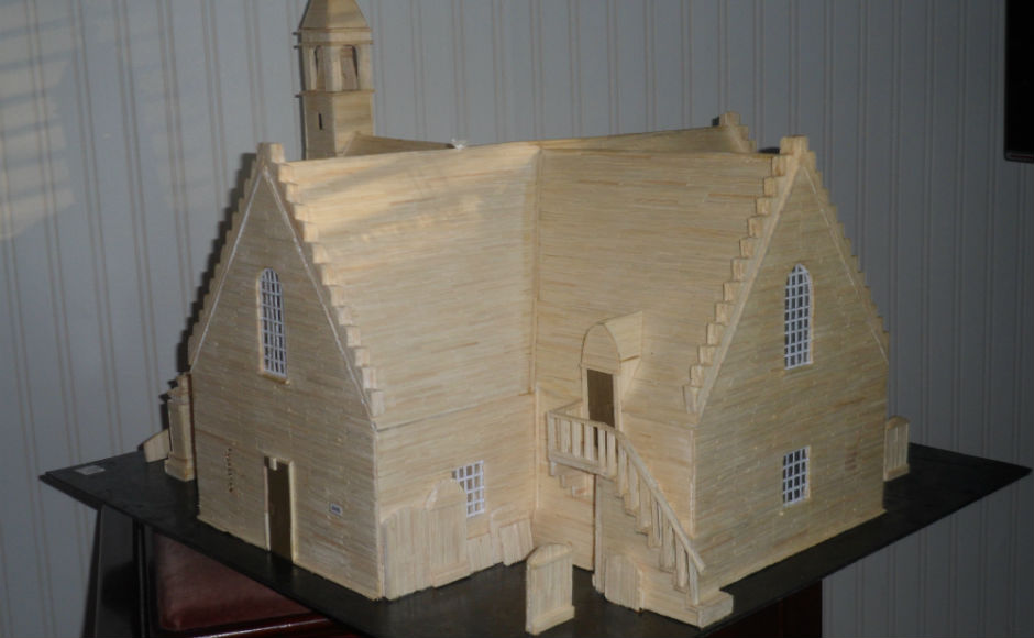 A matchstick model of the church