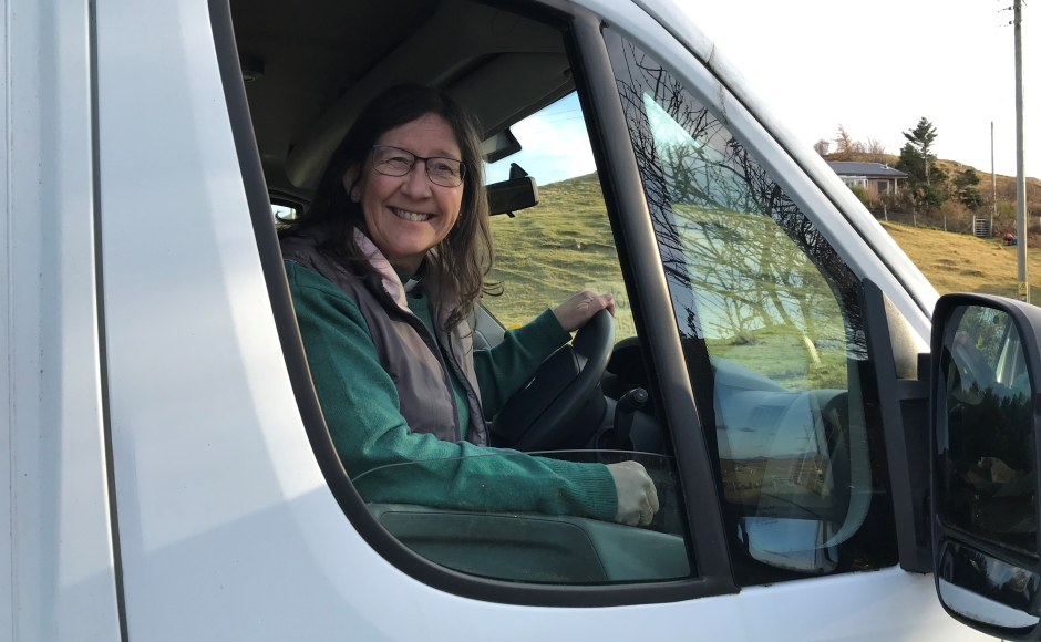 Fiona Ogg behind the wheel