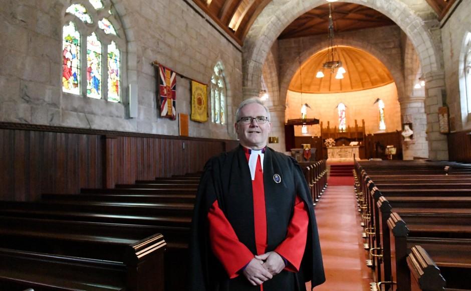 Rev Kenneth MacKenzie at Crathie Kirk in Aberdeenshire
