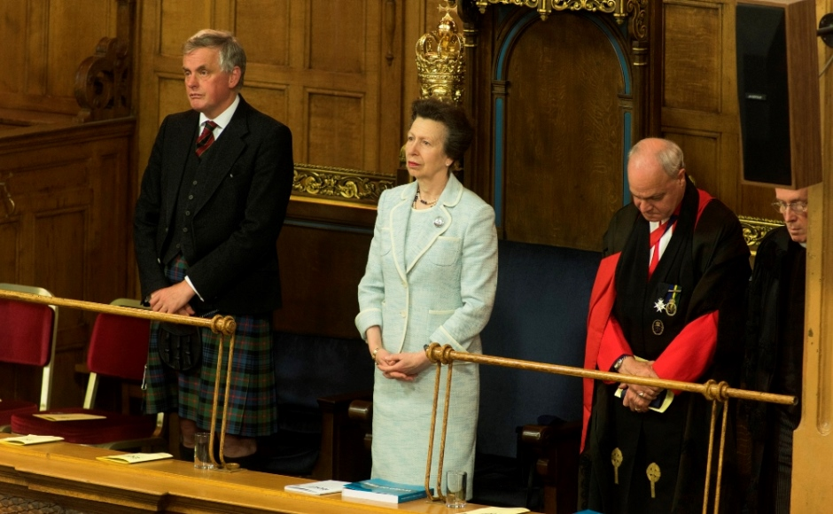 HRH The Princess Royal observes moment of silence