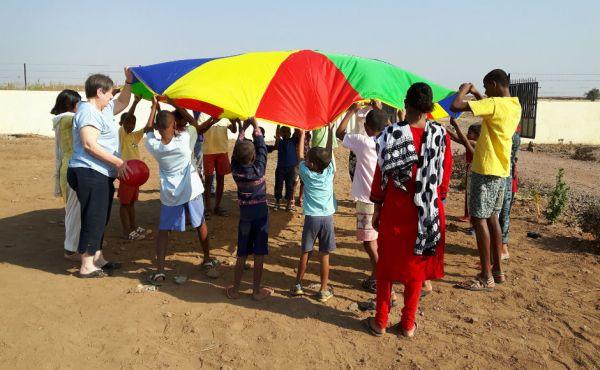 Seema's project: parachute games with the children at Bori in India