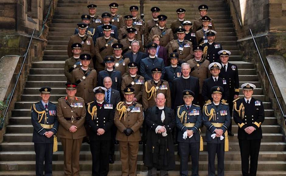 Right Rev Dr Derek Browning with Military Chaplains at the 2017 General Assembly in Edinburgh
