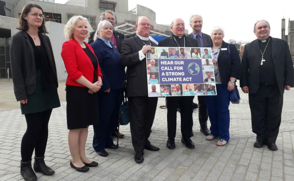 Faith leaders outside the Scottish Parliament