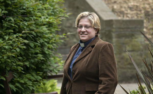 Rev Rola Sleiman in the garden at New College