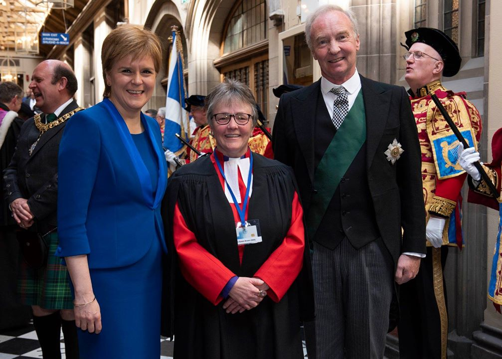Right Rev Susan Brown with First Minister Nicola Sturgeon (left) and His Grace Richard Scott, Duke of Buccleuch and Queensberry (right)