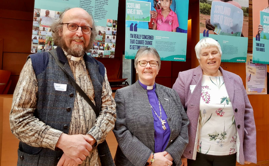 Environmental chaplain Rev David Coleman, Rt Rev Susan Brown and Mary Sweetland, chair of Eco Congregation Scotland