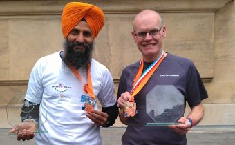 Barry Hughes and friend at the  Luxembourg  marathon