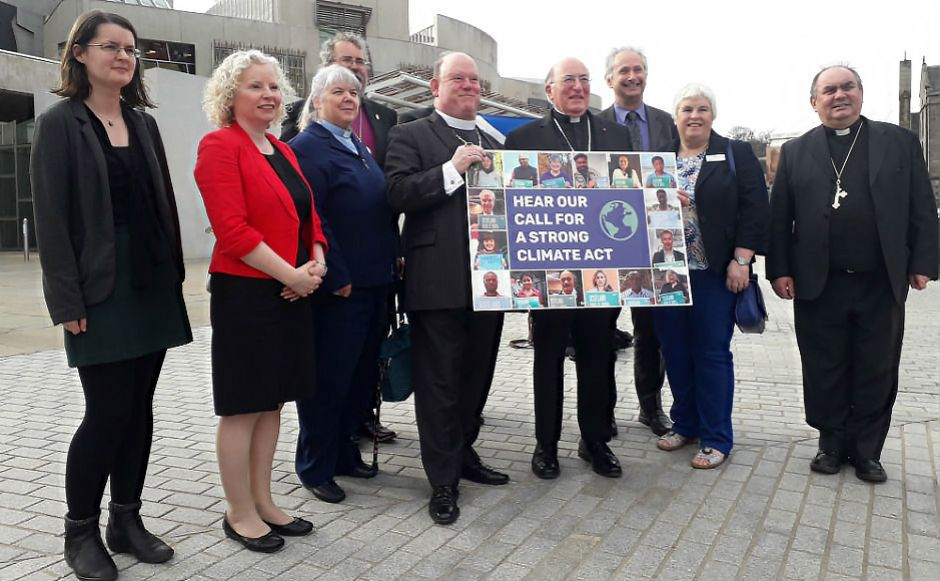Moderator with faith leaders outside the Scottish Parliament