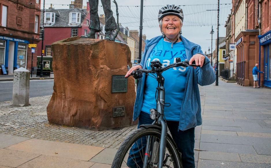 Ellison Hudson on her bike at the finish in Dunbar