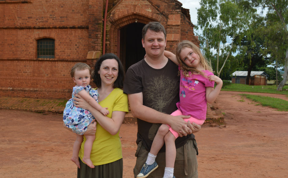 Gary and Jaqueline Brough with the family in Malawi
