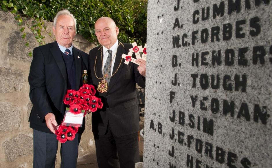 Lord Provost Coucnillor Barney Crockett with Mr John Tough, whose uncle is named on the war memorial