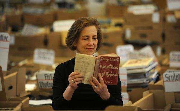 Kirsty Wark with a copy of the George Orwell 1984 book