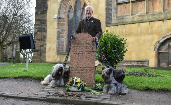 Rev Richard Frazer with Skye terriers at Greyfriars earlier this year