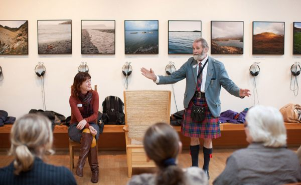 A man addresses an audience at the Scottish Storytelling Centre