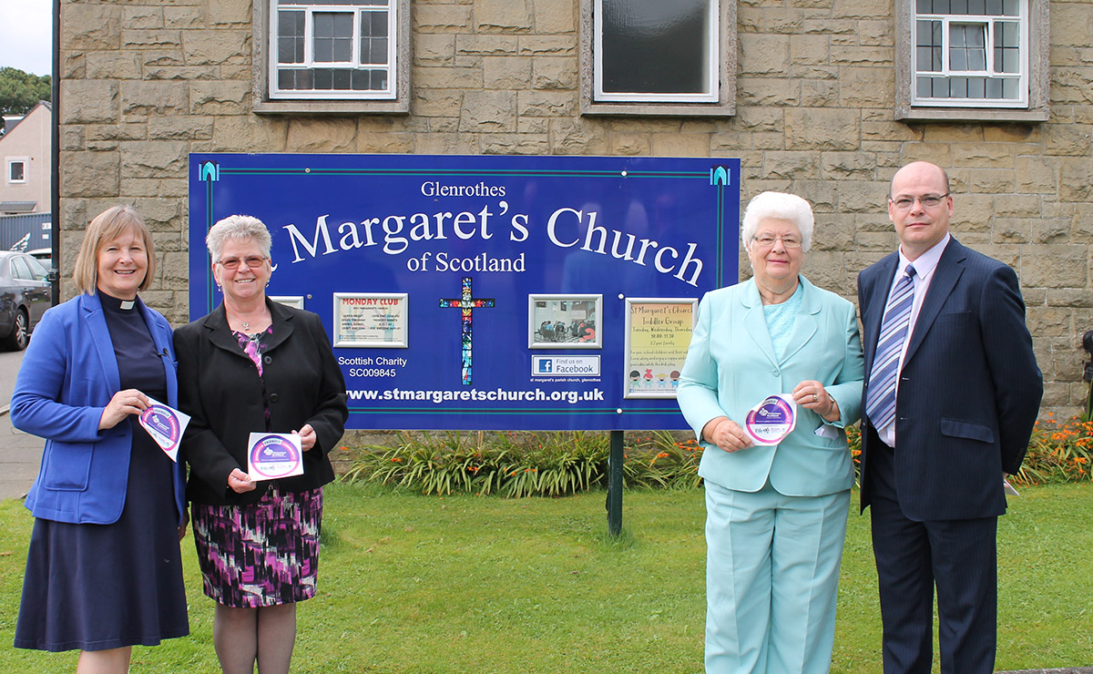 Rev Eileen Miller of St Margaret's Parish Church, Ruth McCabe (Alzheimer Scotland), Wilma Craig (an Elder in St Margaret's and the church's Dementia Friendly contact person) and local councillor Derek Noble.