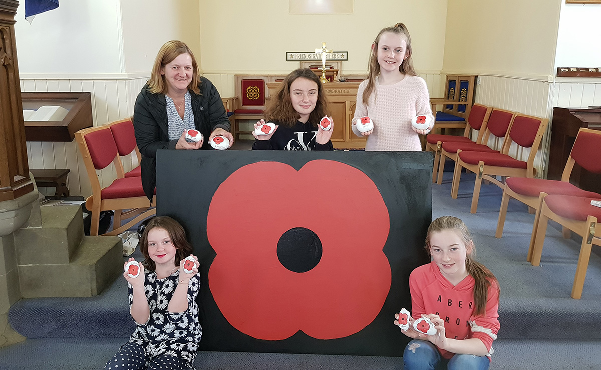 The poppy display at Winchburgh church, created by young people from Pardovan Kingscavil and Winchburgh linked with Abercorn churches