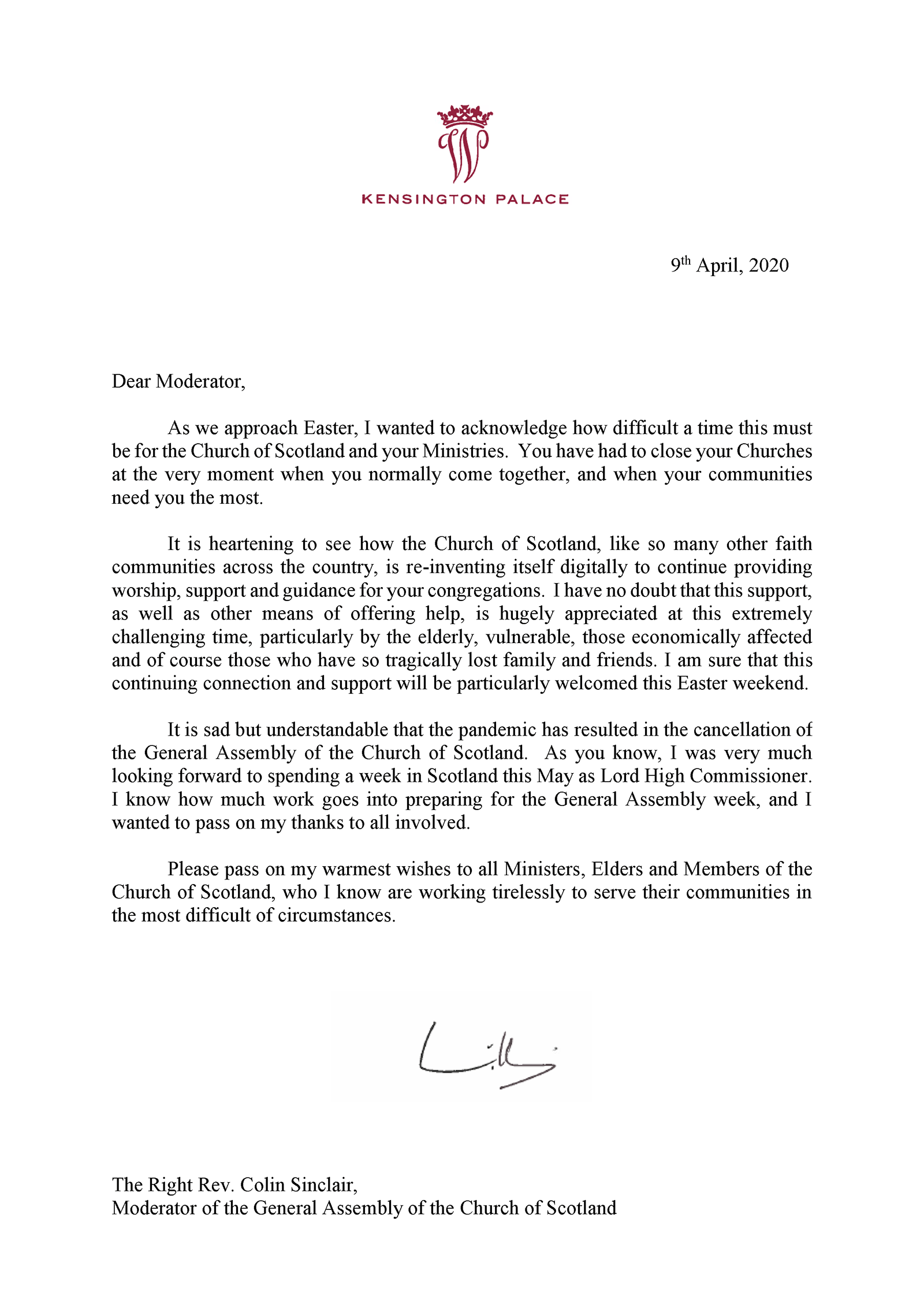 HRH Prince William Letter to Moderator